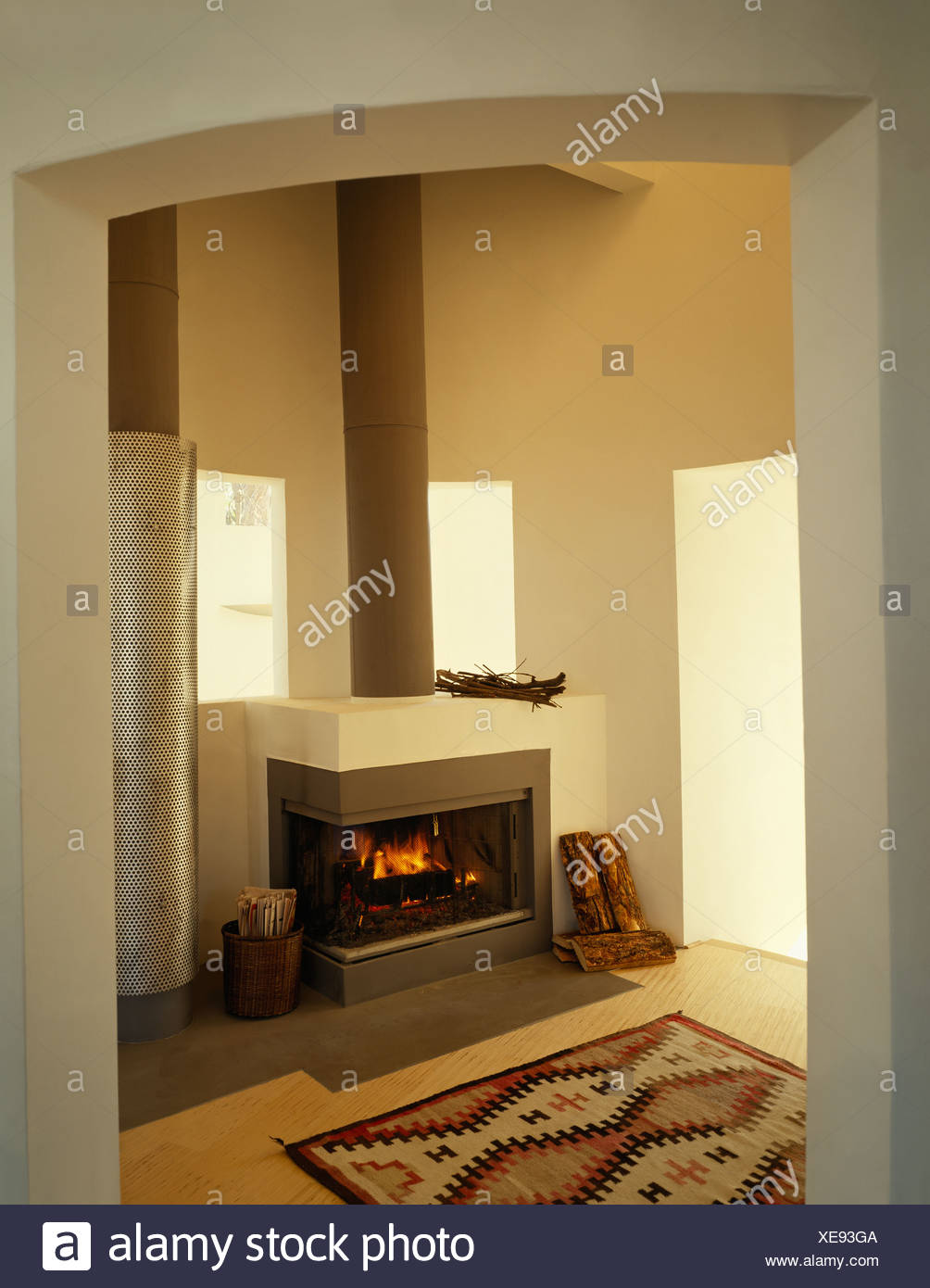 Wohnzimmer Gefliest Modern Interiors Modern Fireplaces Livingrooms Stockfotos Interiors