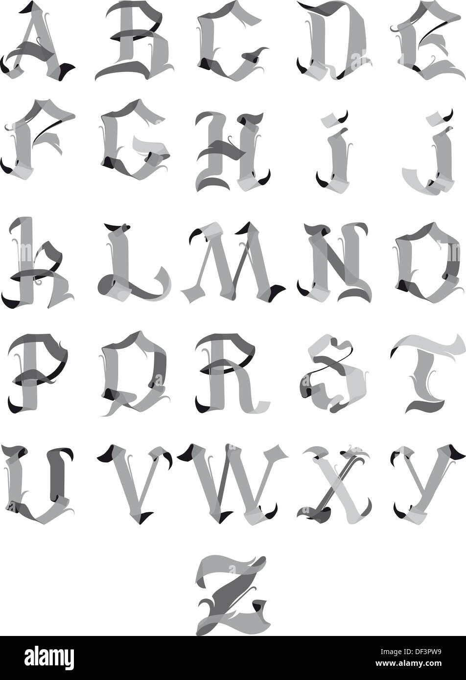 Caligrafia Alfabeto Gotico Alfabeto Completo Estilo Gótico Vector