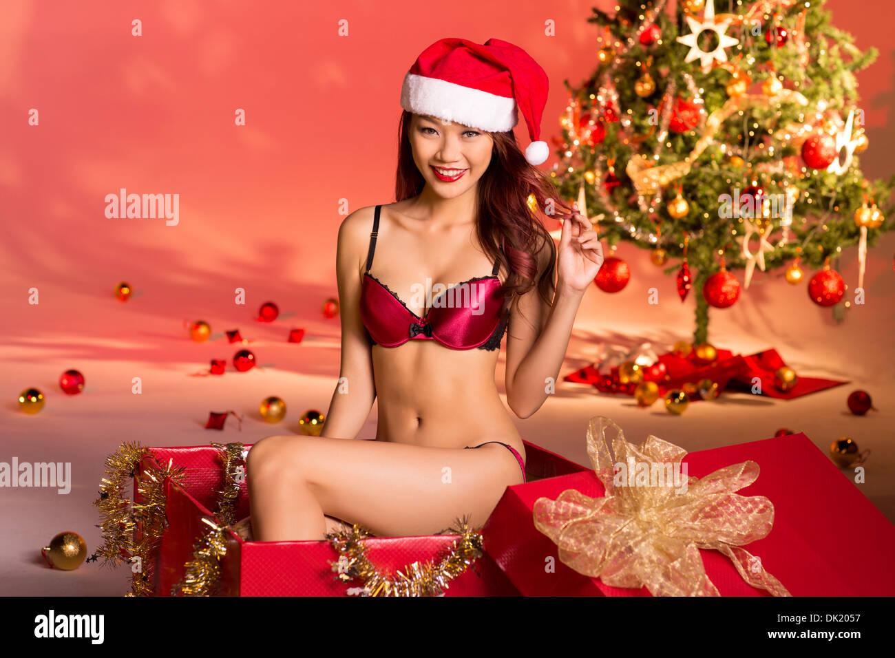 Beautiful Girl Wearing Hat Wallpaper Hermosa Chica Sexy Vestidos De Santa Claus Ropa Interior