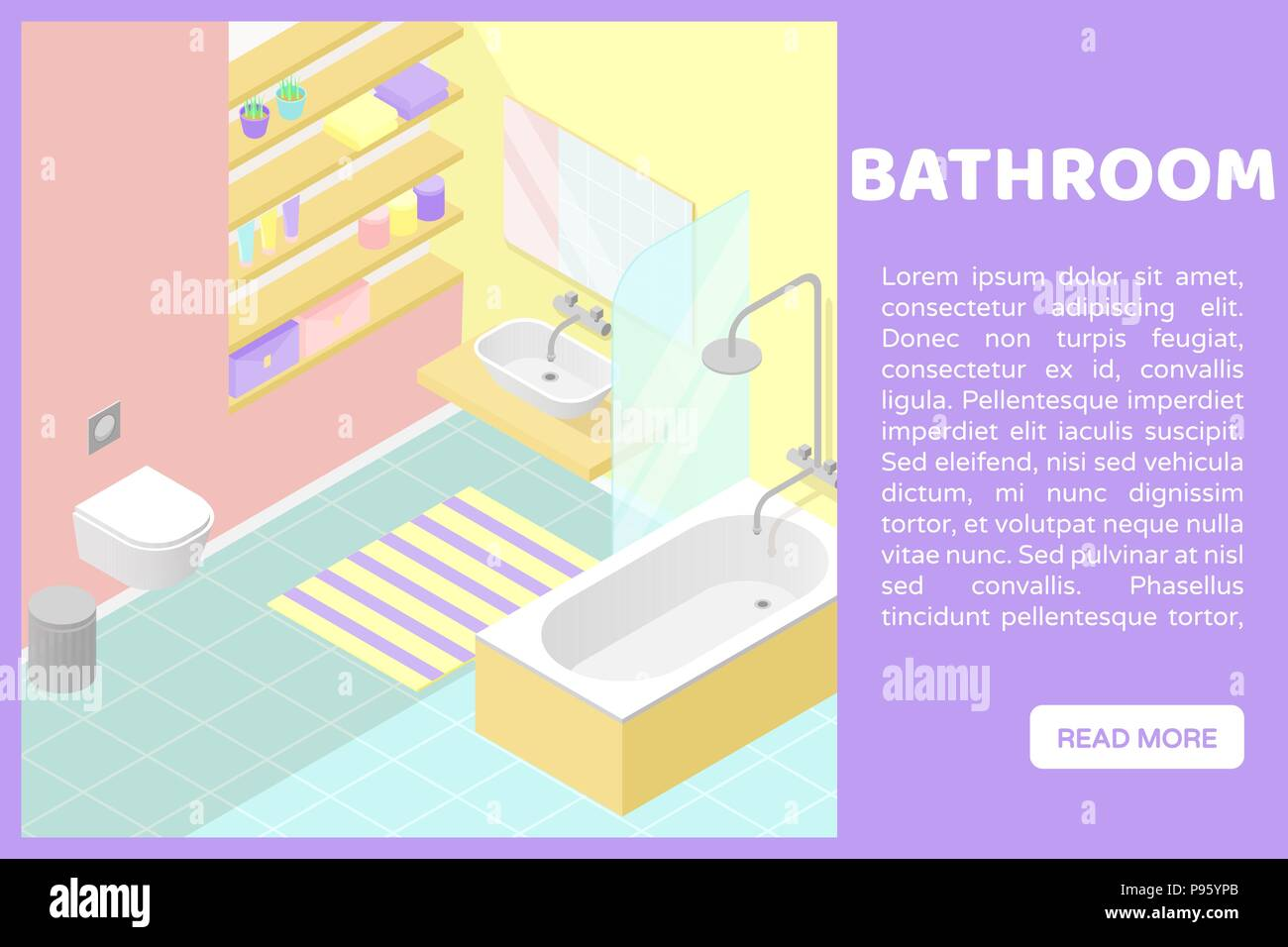 Baño Web Vector Isométrica Poli Seccionada Illustartion Bajo Interior
