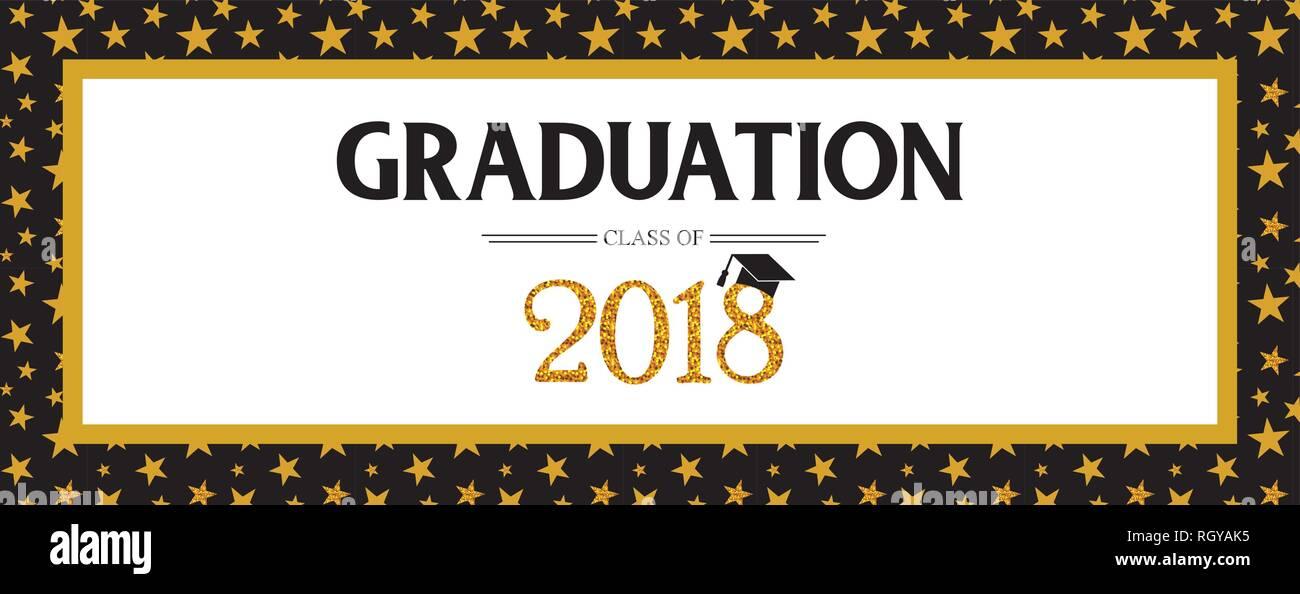 Clase de graduación de 2018 Tarjeta de felicitación y plantilla de