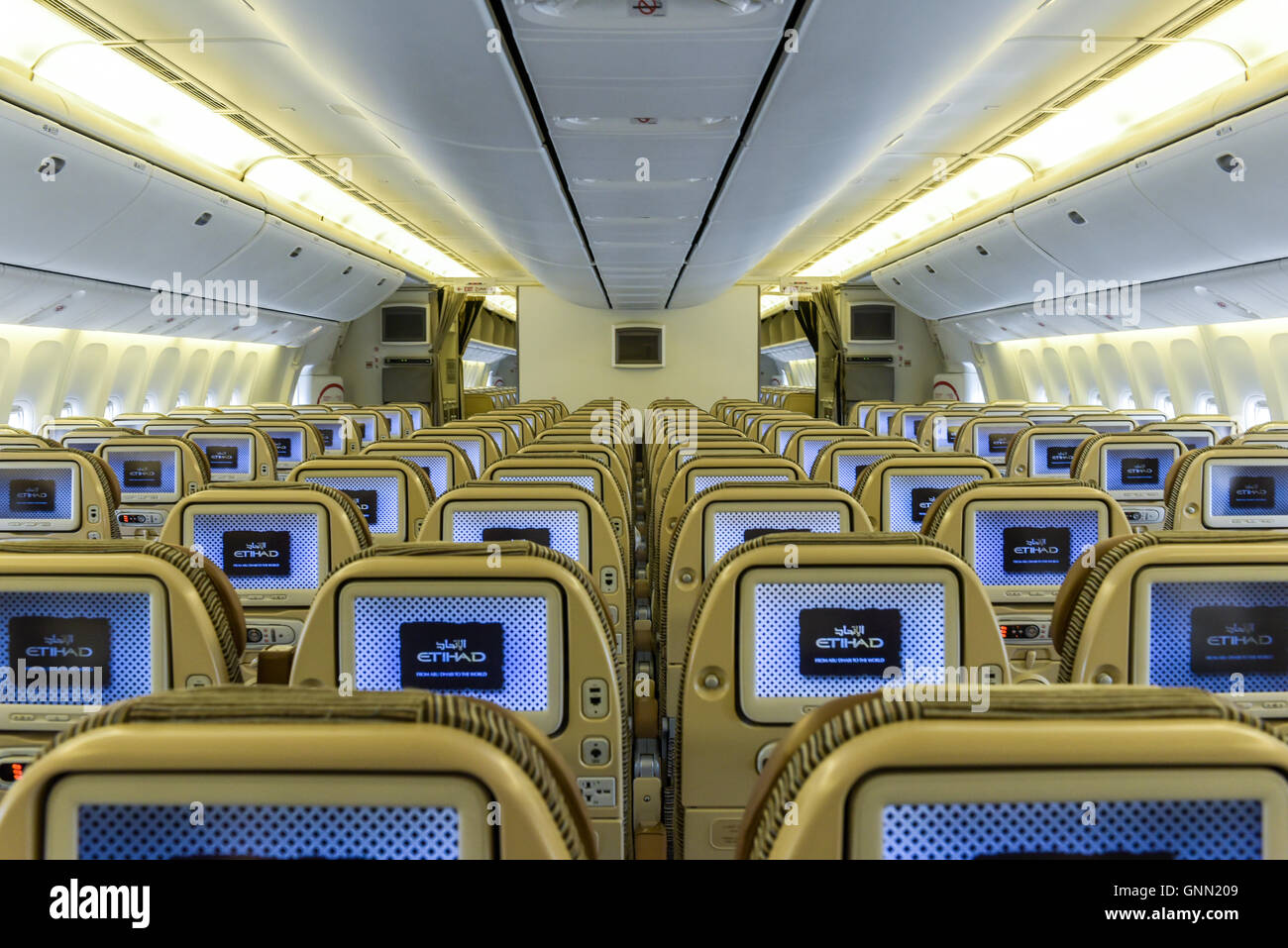 777 Interieur Intérieur D Etihad Airways Avion Boeing 777 Banque D Images Photo