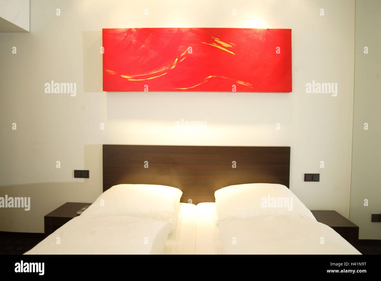 Literie D Hotel Chambre à Coucher Lit Double Mur Photo Rouge