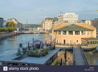 Genève, Suisse, Confédération Helvétique, quartier des banques, Pont de la Coulouvreniere pont ...