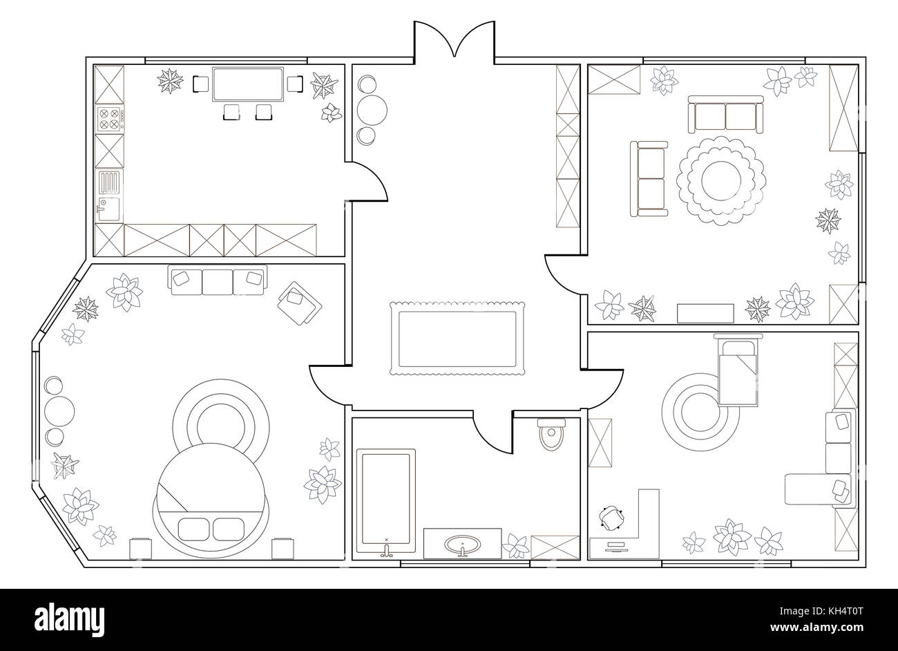 Plan D'appartement Abstract Vector Plan D Appartement De Deux Chambres à Coucher