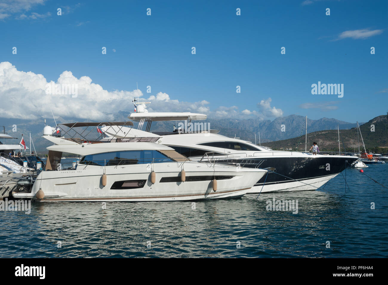 Deux Super Yachts Dans Le Port De Calvi La Balagne Corse France Europe Photo Stock Alamy