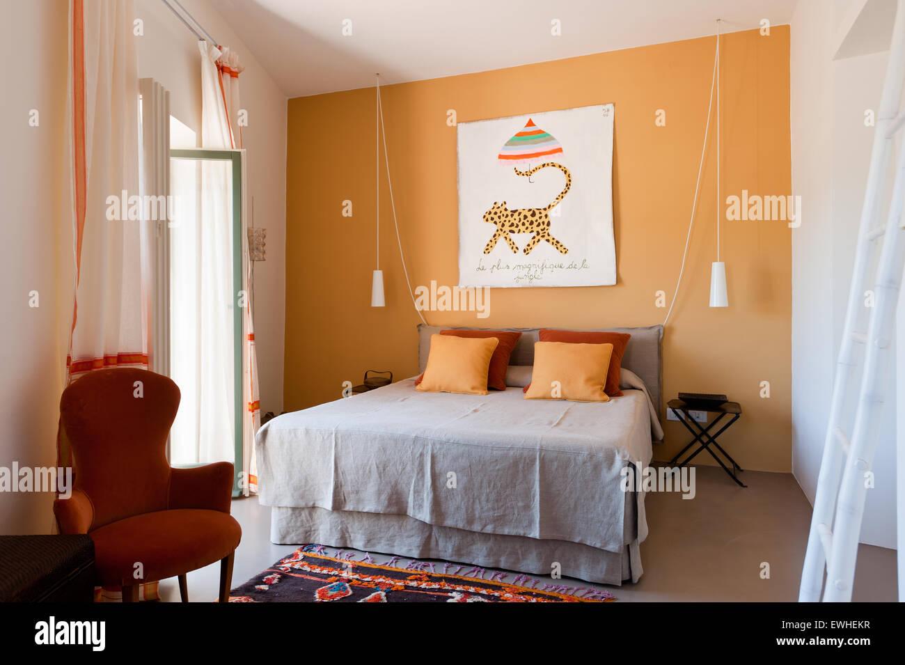 Tende Soggiorno Arancione | Tenda A Due Pannelli Con Passanti In ...