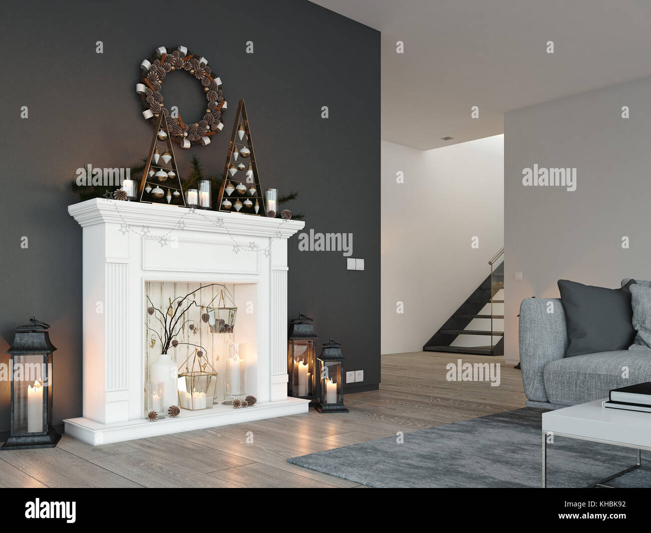 Decorare Caminetto A Natale Il Rendering 3d Home Con Camino In Moderno Appartamento