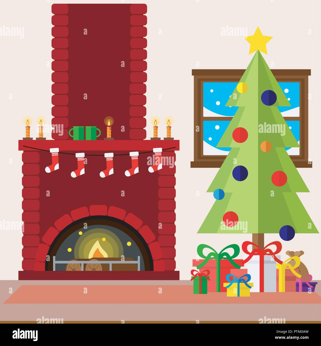 Decorare Caminetto A Natale Natale Sala Caminetto Interno In Cartoon Colorate In Stile
