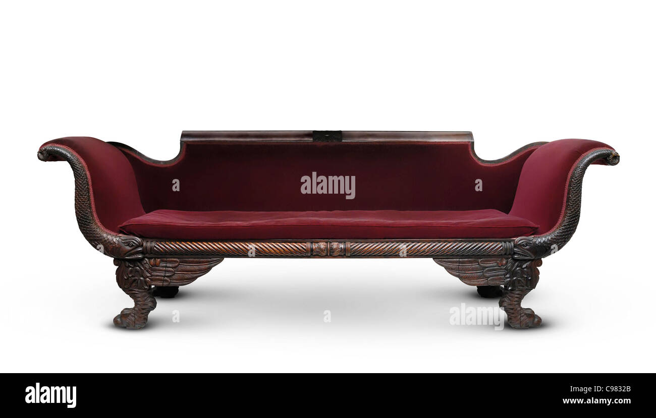 Sofa Vermelho Retro Antique Victorian Wooden Dark Red Sofa Isolated On White