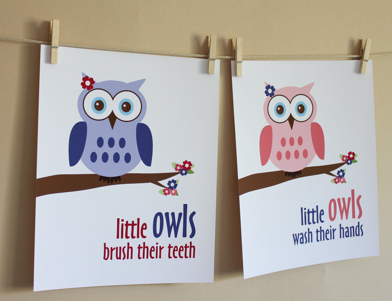Owl Bathroom Little Girl Owl Bathroom Art Prints On Luulla