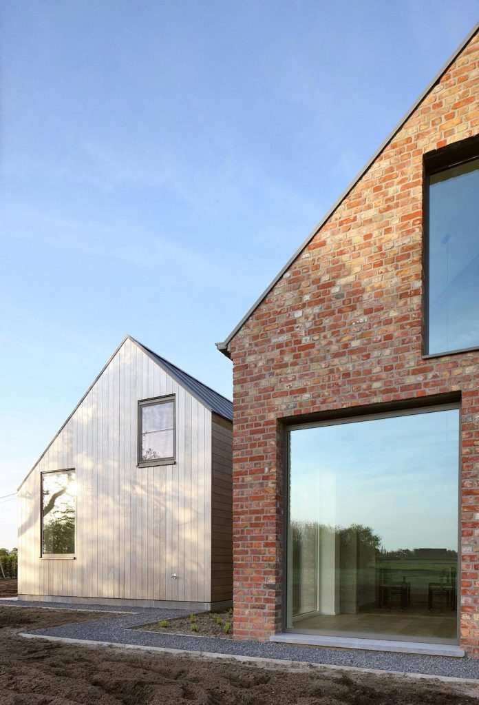 Modern Retaining Wall Former Farmhouse Conversion Into Contemporary Pitched Roof