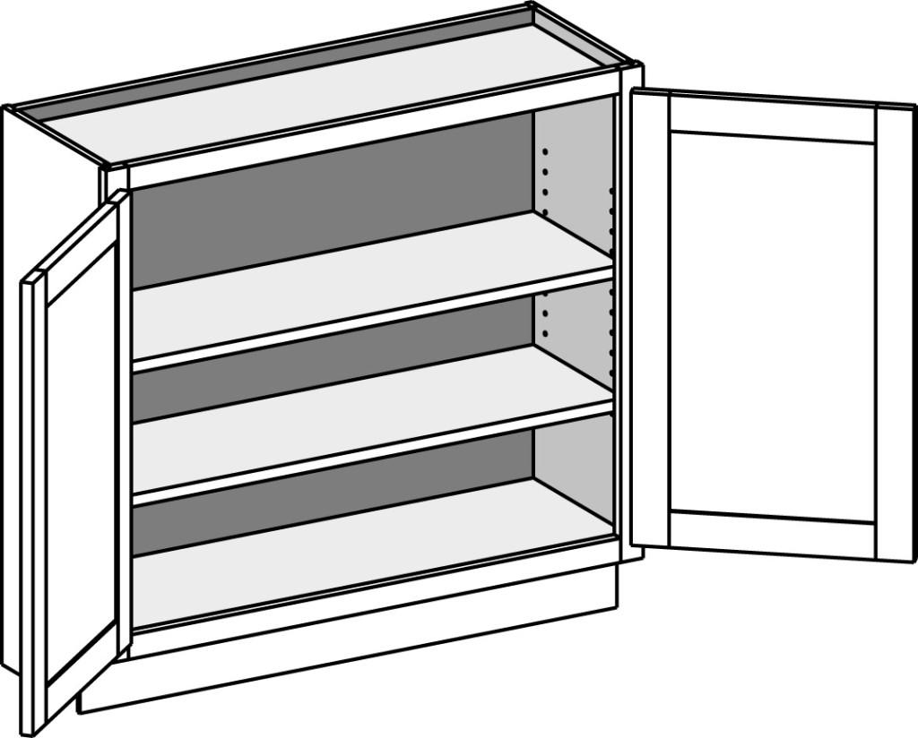 Base full door cabinet wall depth butt doors