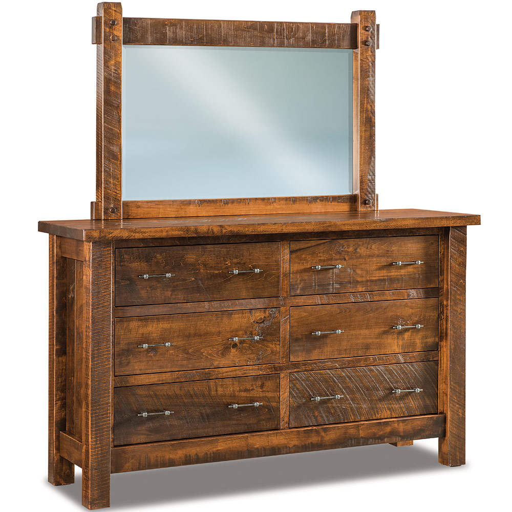 Houston Amish Dresser With Mirror Option Rustic Cabinfield Fine Furniture