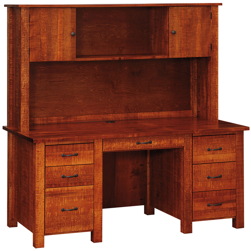 Timber Computer Desk Tooth Timber Double Pedestal Amish Desk