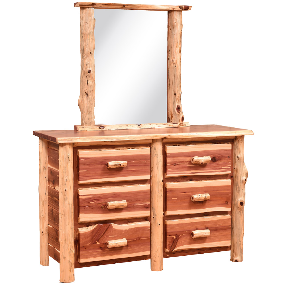 Buck Mountain Amish Dresser With Mirror Option Logs Cabinfield Fine Furniture