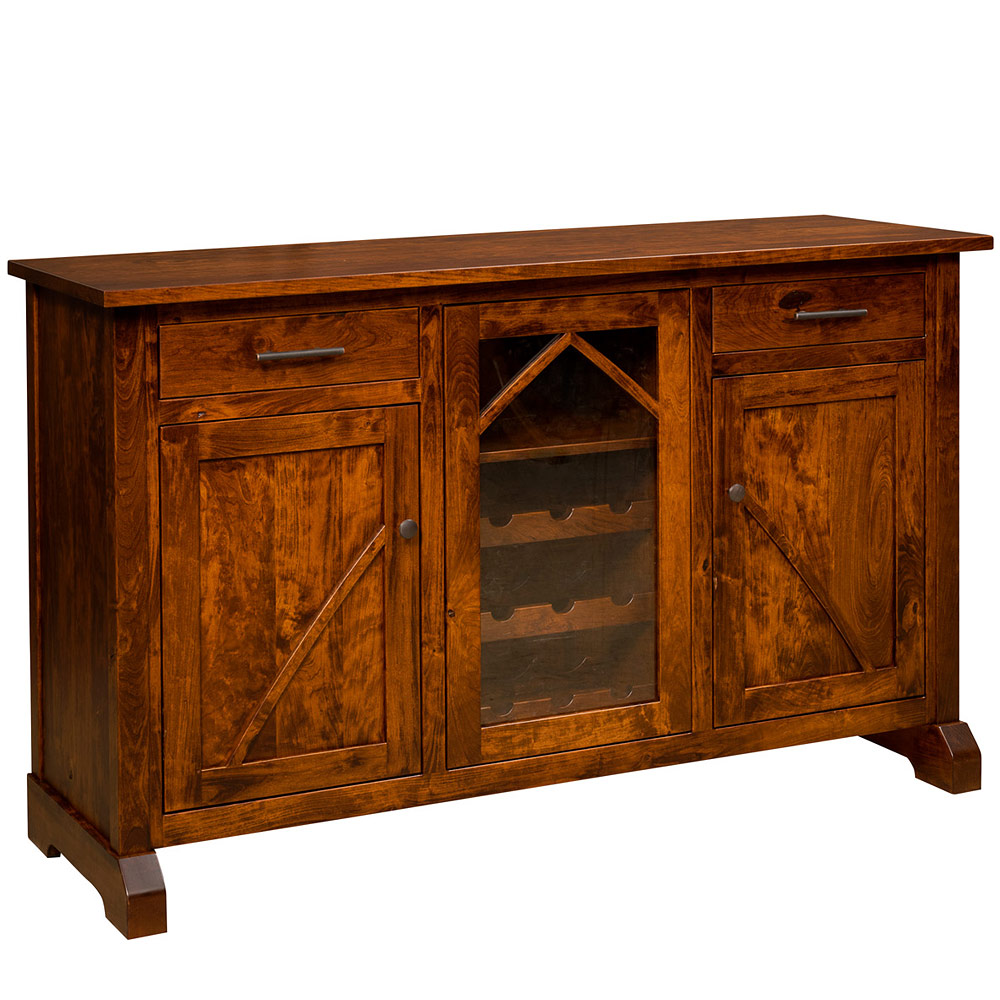 Buffet Sideboard With Wine Rack Bostonian Amish Sideboard