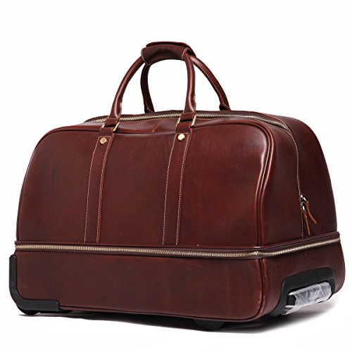 Leathario men s leather luggage wheeled duffle leather