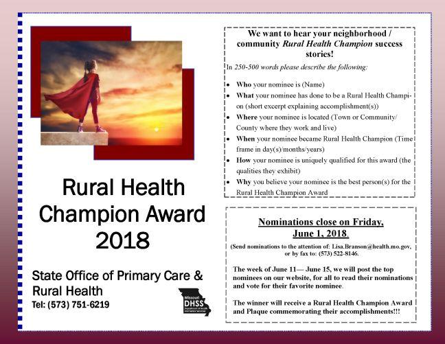 Champion Nomination Request 2018