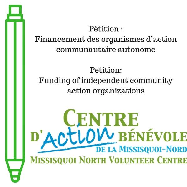 Petition « Centre d\u0027action bénévole de la Missisquoi Nord