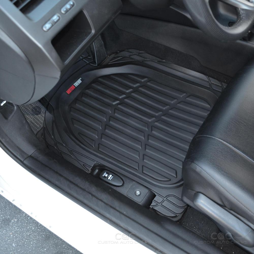 Motor trend deep dish rubber floor mats cargo set black premium 4 piece