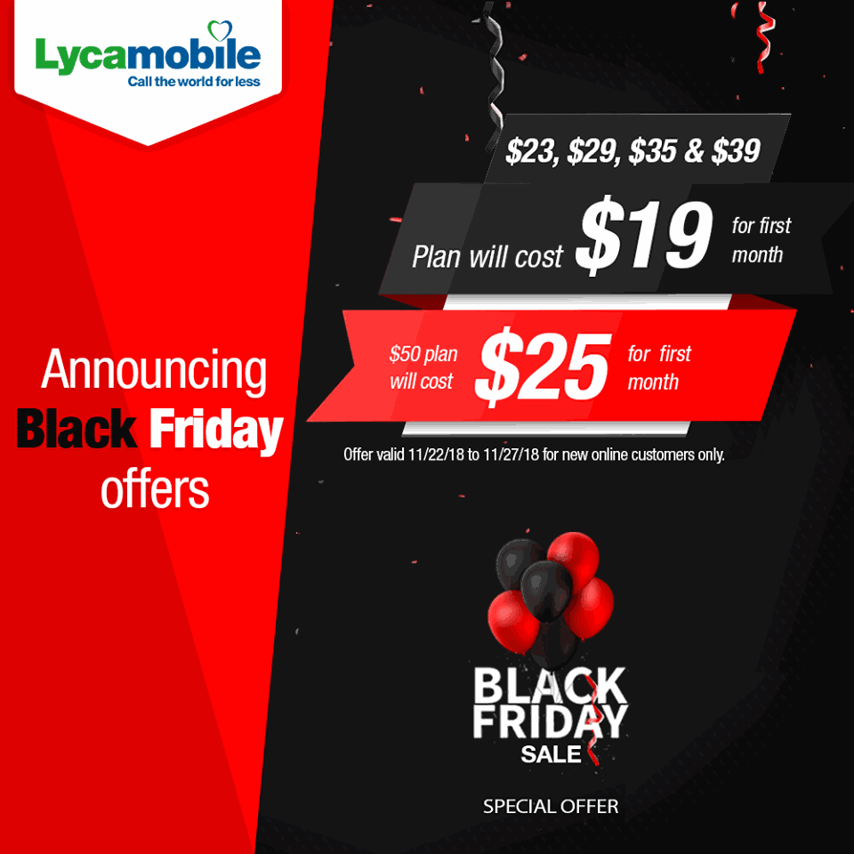 Black Friday Sale Lycamobile Announces Black Friday Sale 50gb Plan Now 25 Most