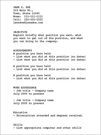 resume text format standard format resume standard resume format plain text resume example - Standard Format Resume