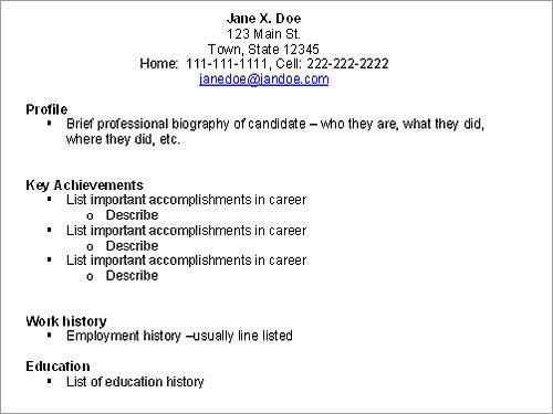 resume work achievements