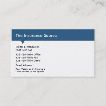 Multi-line Insurance Business Cards Business Cards 100