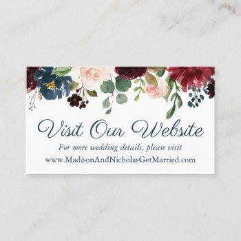 Wedding Website Insert Business Cards Business Cards 100