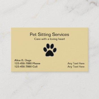 Simple Pet Sitter Business Cards Business Cards 100