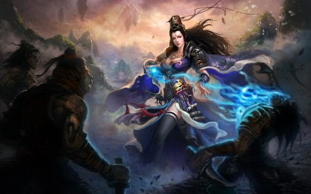 Anime Girl Chinese Dress Blue Wallpaper Fantasy Girl Other Amp Video Games Background Wallpapers
