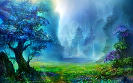 Beautiful Water Fall Scenery Wallpapers Fantasy Land Other Amp Anime Background Wallpapers On