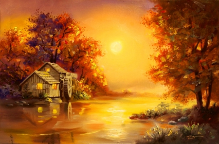 Fall Wallpaper With Verse Watermill Sunset Other Amp Abstract Background Wallpapers