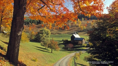 Fall Foliage Wallpaper Widescreen Vermont Autumn Landscape Fields Amp Nature Background