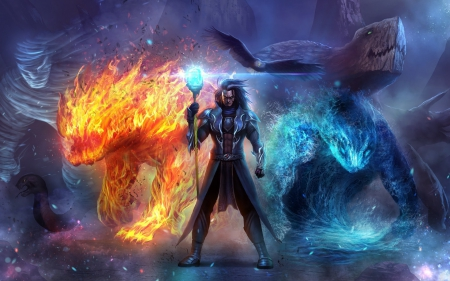 Ice Wolf 3d Wallpaper Download Fire And Ice Fantasy Amp Abstract Background Wallpapers On