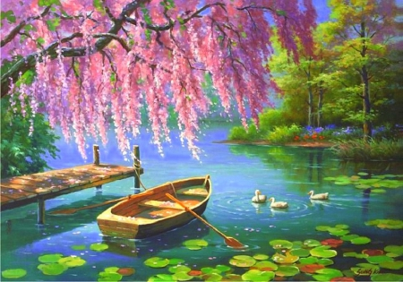 Cute Ducks In Water Wallpaper Willow In Spring Rivers Amp Nature Background Wallpapers