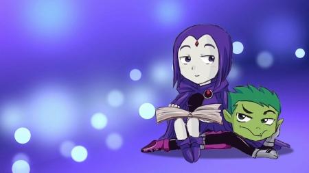Teen Titans Cute Wallpaper Chibi Raven Amp Beast Boy Tv Series Amp Entertainment
