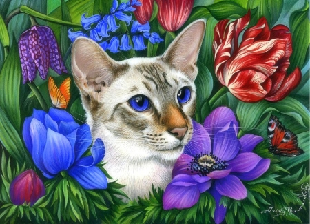 Cute Wallpapers For Springtime Cat In Flowers Cats Amp Animals Background Wallpapers On