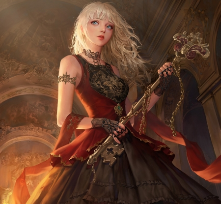 Anime Girl Big Eyes Hd Wallpapers Golden Key Fantasy Amp Abstract Background Wallpapers On