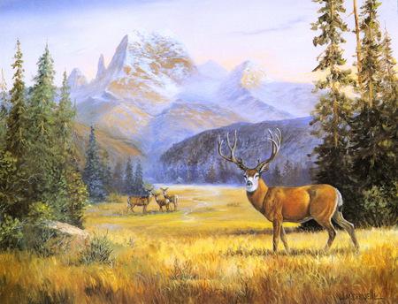 Fall Farm Desktop Wallpaper Deer Mountain Paintings Wallpapers And Images Desktop