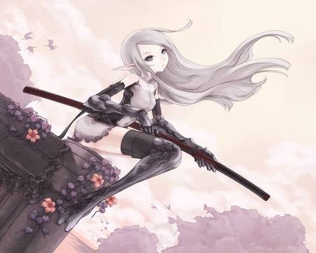Alone Girl Heart Wallpapers Elf Sword Other Amp Anime Background Wallpapers On Desktop