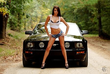 Girl Mustang Wallpaper Bikini Girl Mustang Girls And Cars Amp Cars Background