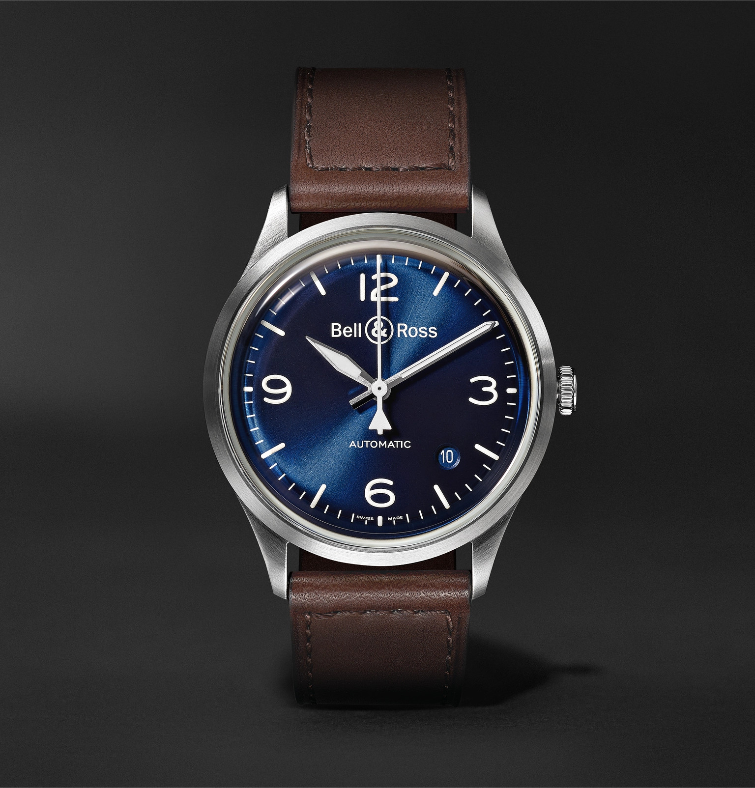 / Br Bell Ross Br V1 92 Automatic 38 5mm Steel And Leather