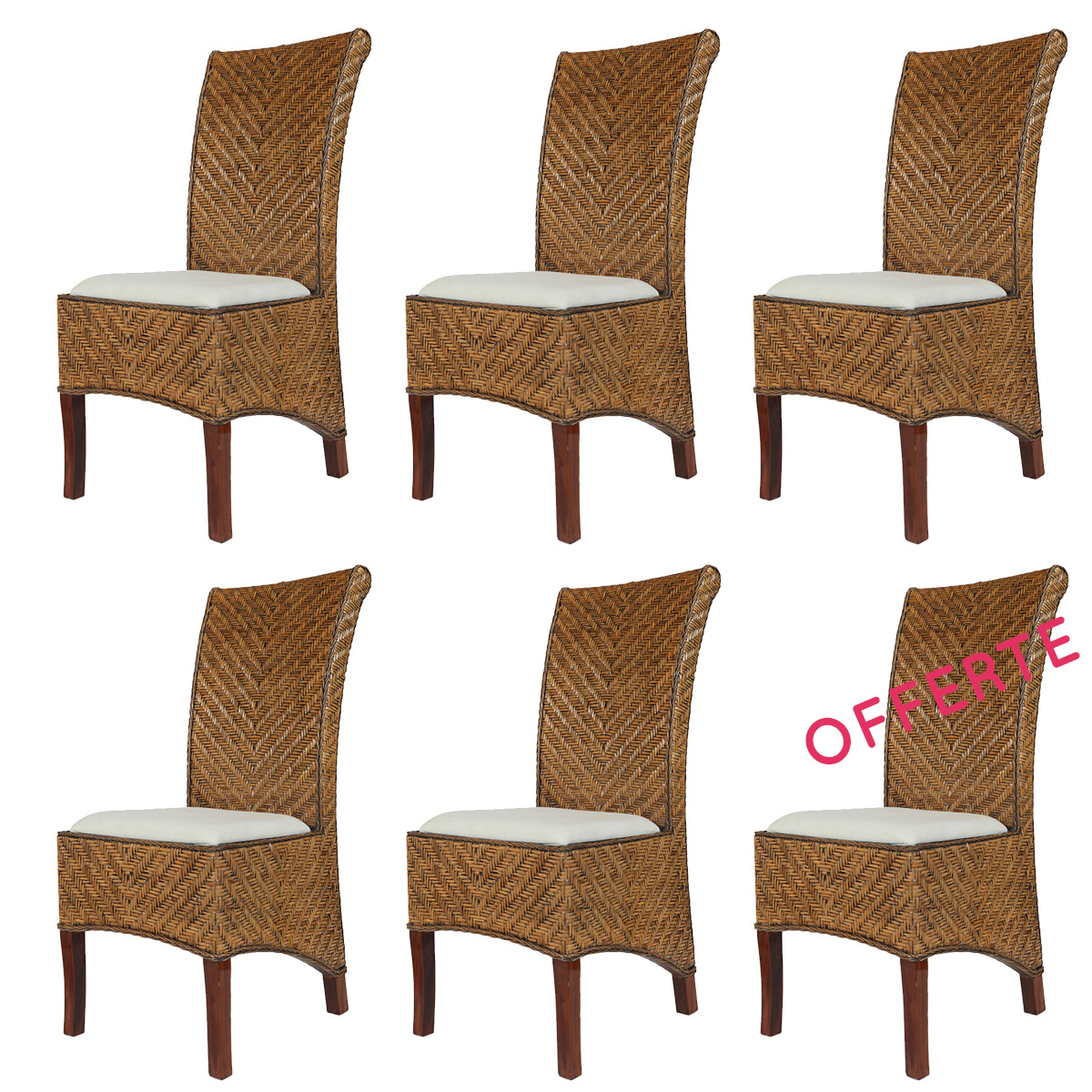 Lot De 6 Chaises Marron Lot 6 Chaises En Rotin Marron Salta Nature Découvertes