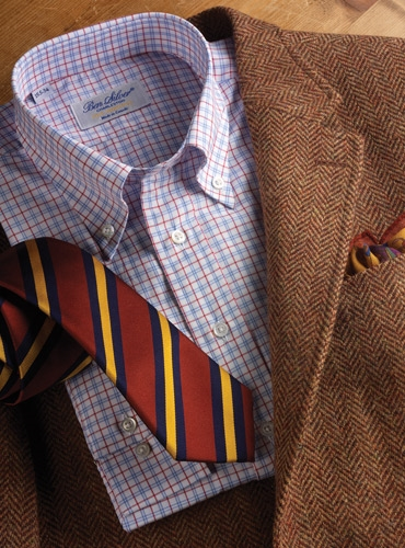 Button Bears Collection Russet And Wheat Herringbone Harris Tweed Sport Coat