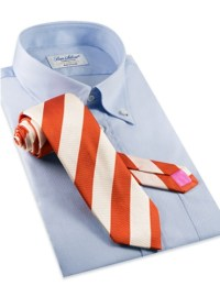 Orange and White Block Stripe Tie