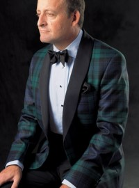 Black Watch Wool Dinner Jacket with Shawl Collar