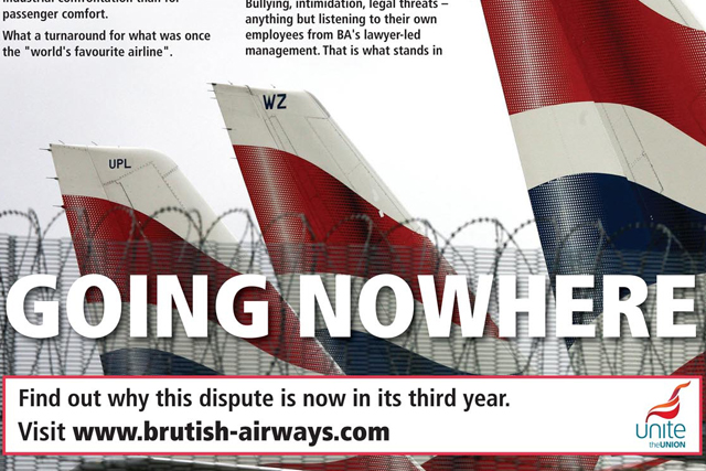 BA targeted by fresh union attack ads - ba stands for