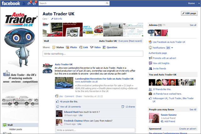 Auto Trader drives on board Facebook Timeline Campaign US